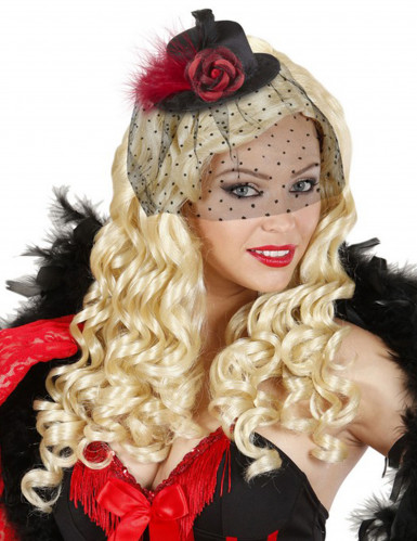 Schwarzes Hütchen mit roter Blume für Damen