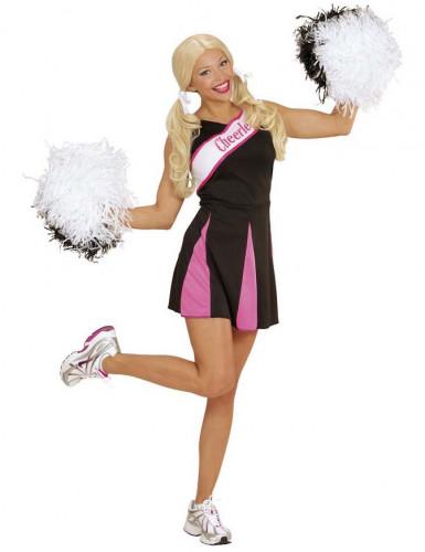 Cheerleader-Kostüm in Rosa und Schwarz für Frauen