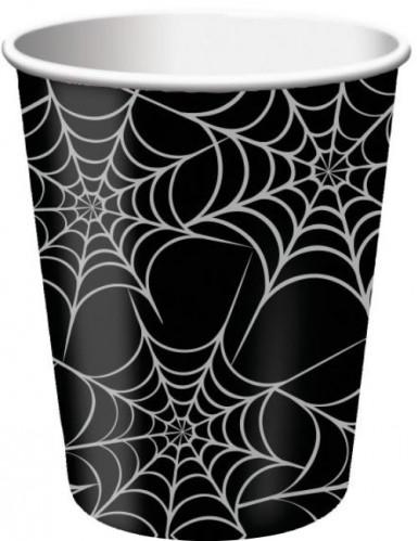 8 Pappbecher Spinnweben - Halloween