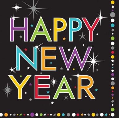 16 Happy New Year Papier Servietten