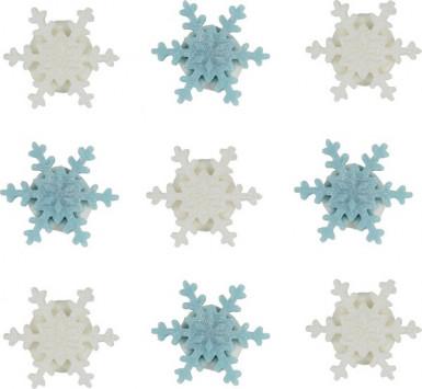 9 kleine Schneeflocken aus Zucker