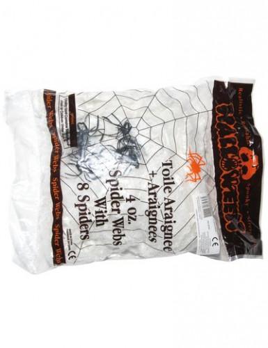Spinnennetz-Deko für Halloween weiß-schwarz
