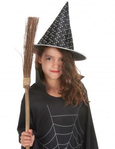 Hexenhut in weiß und schwarz für Kinder Halloween-1