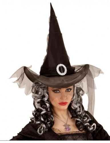 Spitzer Hexenhut für Damen schwarz-silberfarben