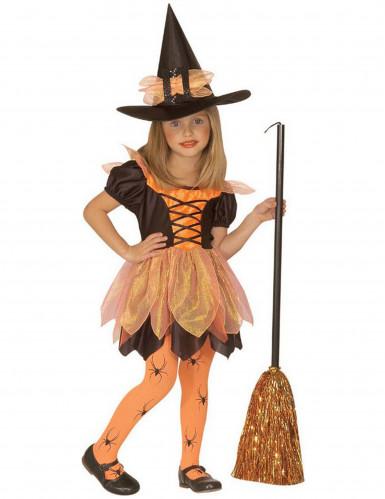 Kleine Hexe Mädchenkostüm Fasching und Halloween schwarz-orange