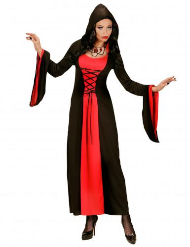 Halloween-Kostüm in Schwarz und Rot mit Kapuze für Damen