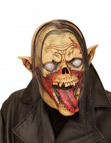 Halloween Maske Zombie Vampir mit Haaren für Erwachsene