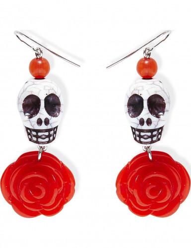 Rote Rose-Totenkopf Ohrringe für Erwachsenen