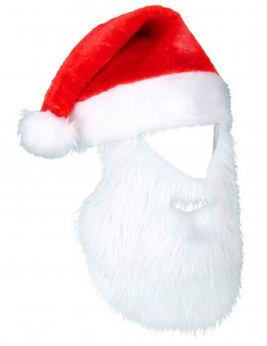 Weihnachtsmann Mütze mit Bart für Erwachsene
