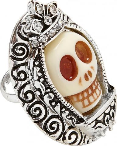 Silber strass Totenkopf - Ring für Erwachsene