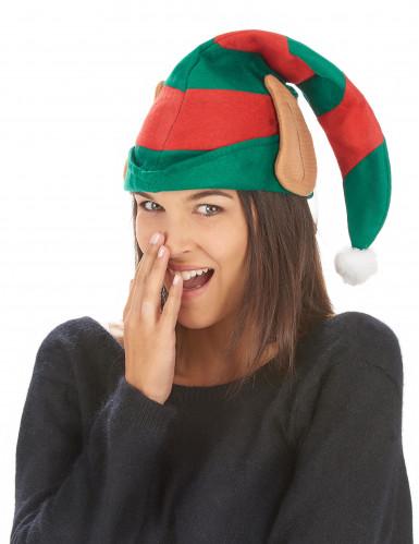 Gestreifte Weihnachtskobold-Mütze mit Ohren-1