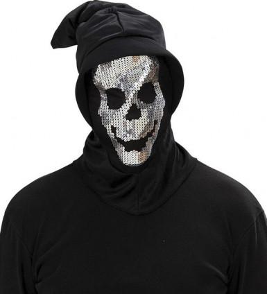 Skelett Pailletten Maske für Erwachsene Halloween