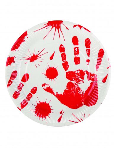 6 Halloween-Pappteller »Blutige Hände« 23 cm