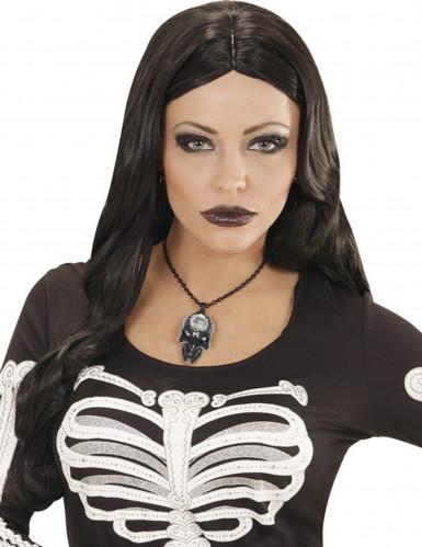 Halskette für Damen mit kristallbesetztem Schädel-Anhänger für Halloween