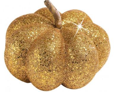 Goldfarbene Kürbis Dekoration Halloween 15 cm