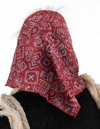 Halloween Maske Alte Hexe mit Haar und Kopftuch für Erwachsene-1