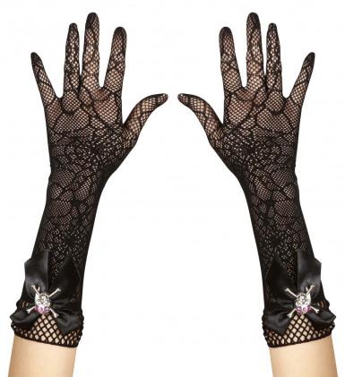 Spinnennetz Handschuhe mit Totenkopf und Strass - Halloween-1