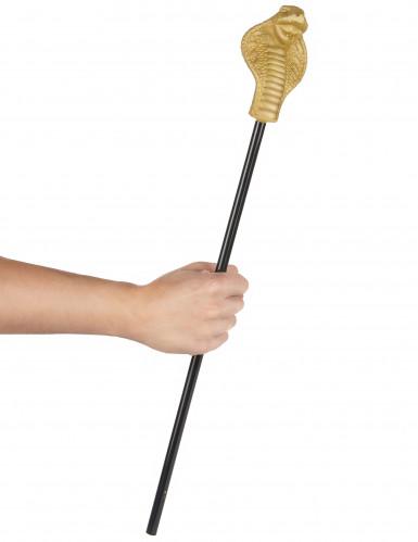 Königliches Schlangen-Zepter schwarz-goldfarben 58cm-1