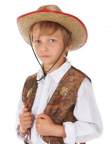 Cowboy Hut aus Stroh für Kinder-1