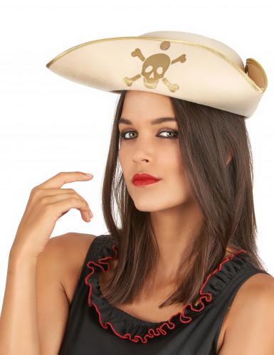 Beige goldener Piraten Dreispitzhut für Erwachsene-1