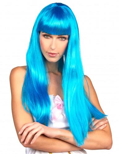 Lange blaue Perücke mit Pony für Damen