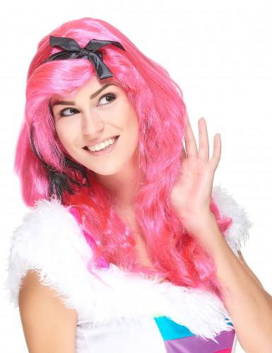 Lange Perücke Glamour für Frauen in Rosa