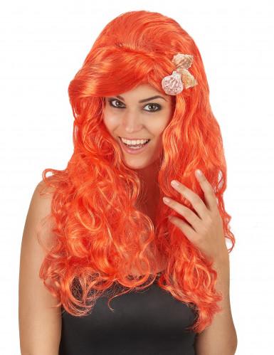 Orangefarbene Perücke mit langem Haar für Damen