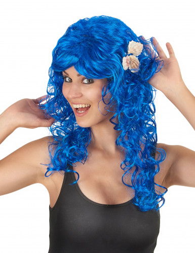 Blaue Langhaar-Perücke für Damen