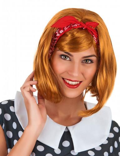Perücke mit roten Haaren und einem quadratischen Haarschnitt für Frauen