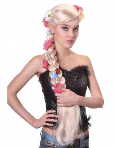 Perücke geflochtener Zopf Hippie blond für Frauen