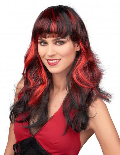 Perücke für Frauen - Schwarze Haare mit roten Strähnen