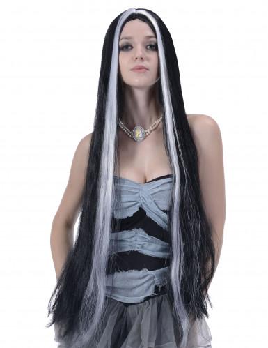 Perücke schwarz-weiß für Frauen 90 cm
