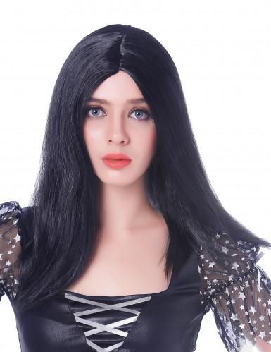 Schwarze Langhaaarperücke für Frauen- 45 cm