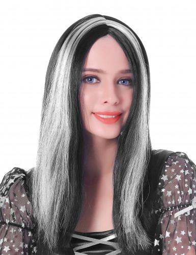 Lange schwarz-weiße Perücke für Damen 45 cm