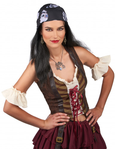 Piratenperücke mit Totenkopf Bandana für Herren-1
