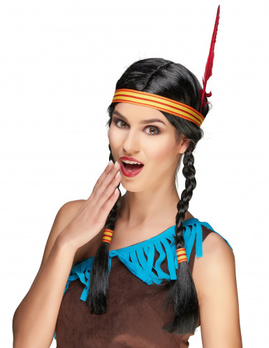 Indianer Perücke mit Feder für Damen