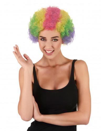 Kunterbunte Clowns-Perücke für Erwachsene