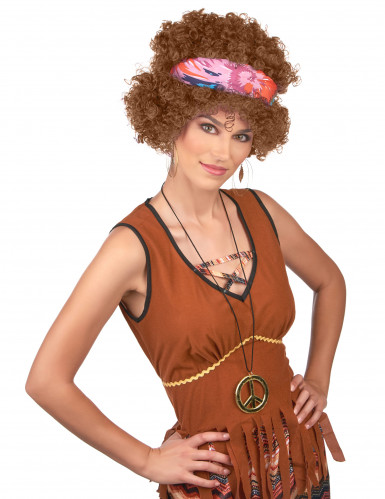 Afro Perücke Hippiefür Erwachsene braun-1