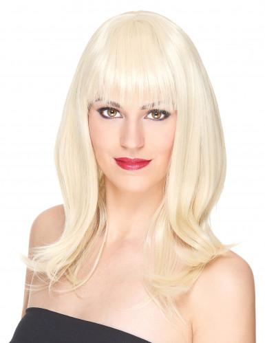 Blonde mittellange Perücke Luxus für Damen