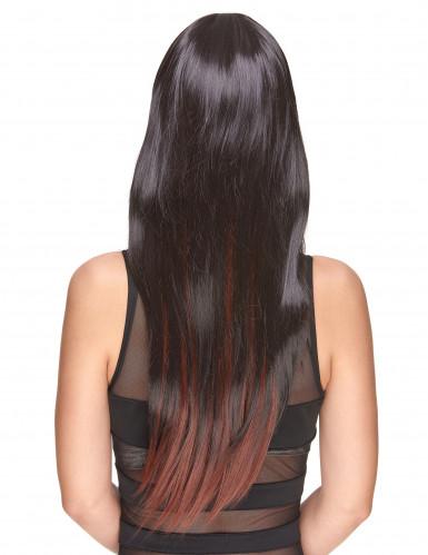 Delux-Perücke mit sehr langen kastanienbraunen Haaren mit Strähnen für Frauen-1