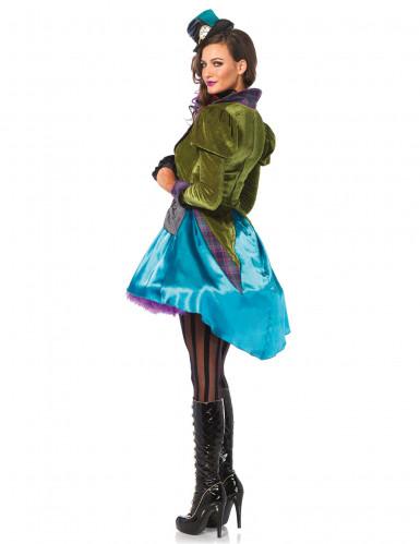 Steampunk Hutmacher Kostüm für Damen blau-grün-4