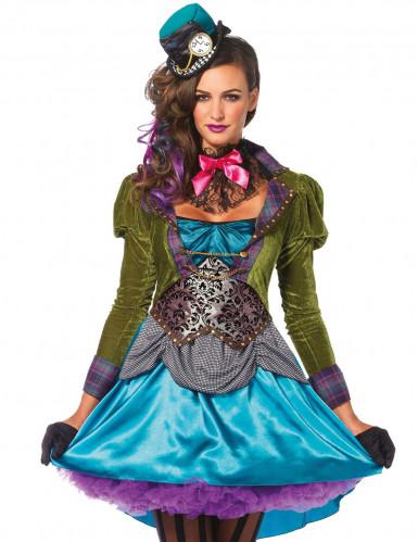 Steampunk Hutmacher Kostüm für Damen blau-grün-3