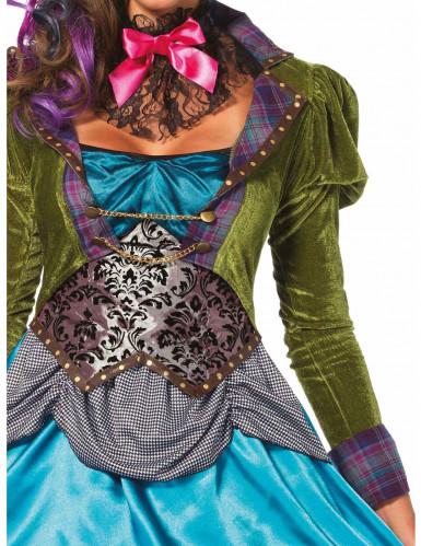 Steampunk Hutmacher Kostüm für Damen blau-grün-2