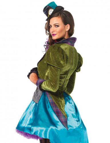 Steampunk Hutmacher Kostüm für Damen blau-grün-1