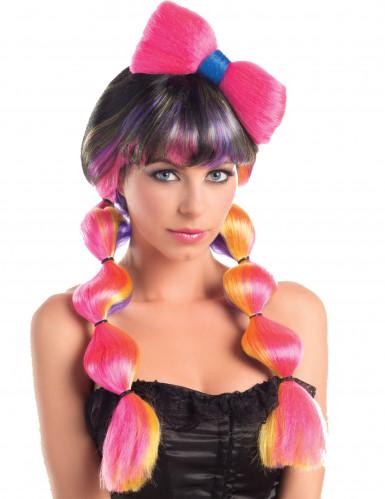 Mehrfarbige Perücke mit Knoten für Frauen