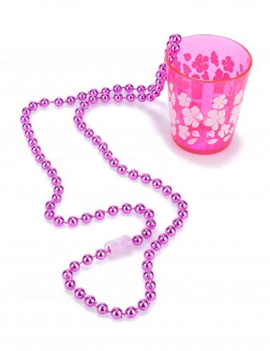 Schnapsglas mit Kette rosa für Erwachsene