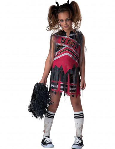 Mädchenkostüm Zombie Cheerleader schwarz-rot-grau