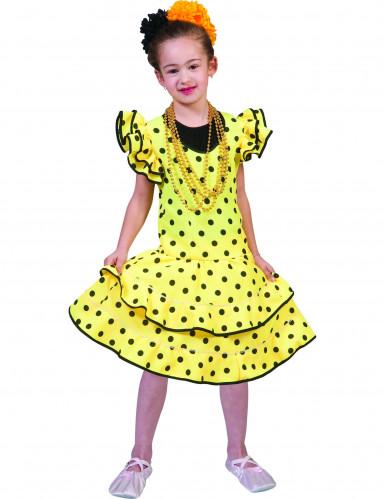 Gelbes Flamenco-Kostüm mit Punkten für Mädchen