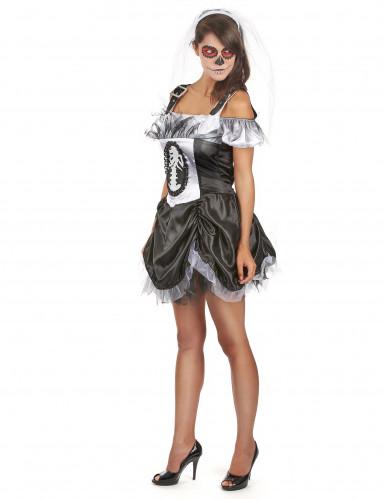 Schickes Halloween Skelett Kostüm für Damen-1