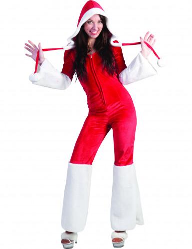 Weihnachtsfrau-Overall Kostüm mit Gürtel